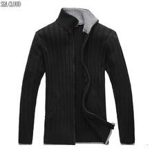 Sea Cloud Free shipping Autumn plus size fat M-6XL european big stand collar male knitted zipper cardigan long-sleeve sweater