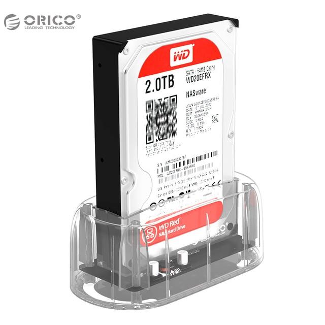 """Orico 3.5 """"2.5"""" прозрачный Дизайн USB3.0 SATA3.0 HDD Док-Станция Поддержка 8 ТБ Жесткий Диск Без Использования Инструментов для Notebook PC"""