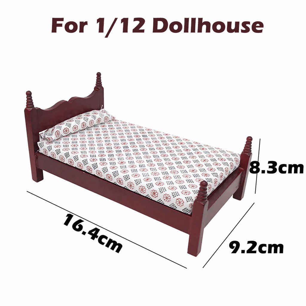 Furniture Toys Doll Accessory 1:12 Mini Dollhouse Furniture Bed Set Miniature Living Room Kids Pretend Play Toy Doll Bed T7#