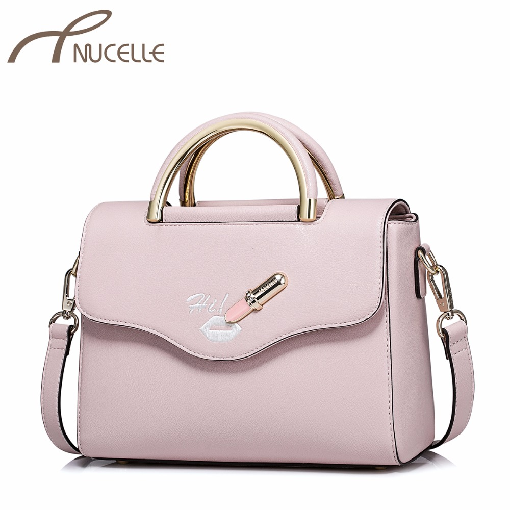 NUCELLE Ladies Fashion Elegant Messenger Tote Purse Female Embroidery Lip Pink Lipstick Bags NZ4091 Women's PU Leather Handbags