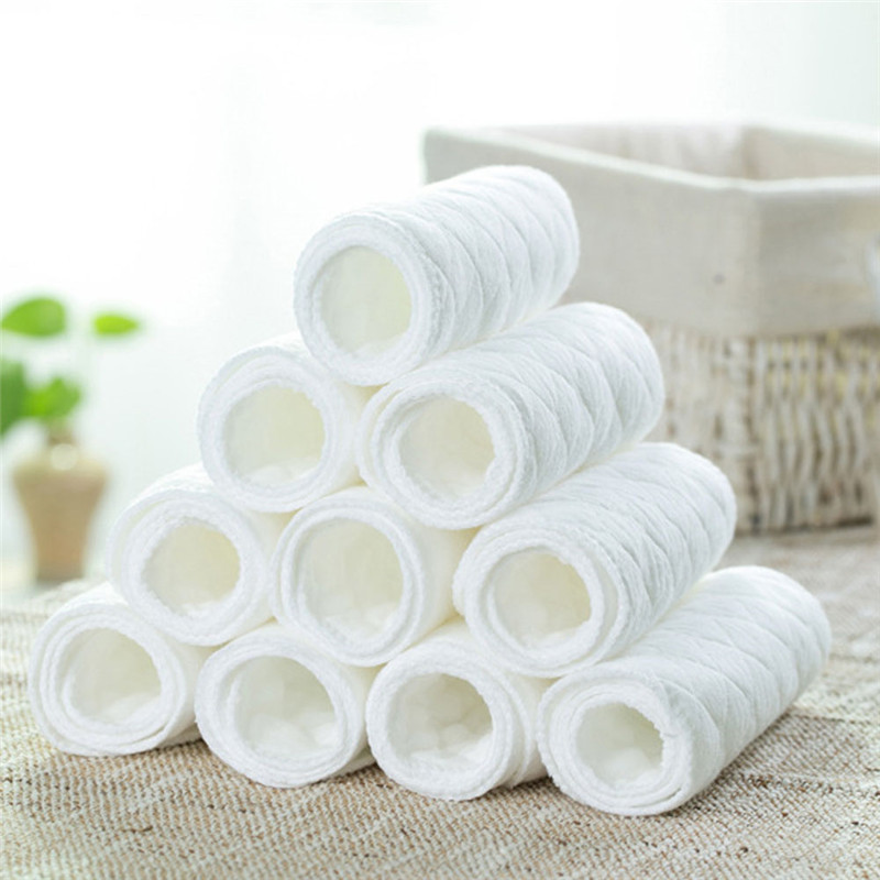 10pcs Reusable Baby Cloth Diapers Nappy Liners Insert 3 Layers Cotton Diaper Soft and Breathable Baby Care hangqiao baby 3 layers white burp cloths cloth diapers cotton diapers diapers diaper