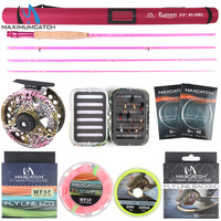 Maximumcatch 6'6''/9'0'' 2/5wt Fly Fishing Rod Kit Fly Rod and Fly Reel Combo with Fishing Lure Line Box Set Fishing Rod Tackle