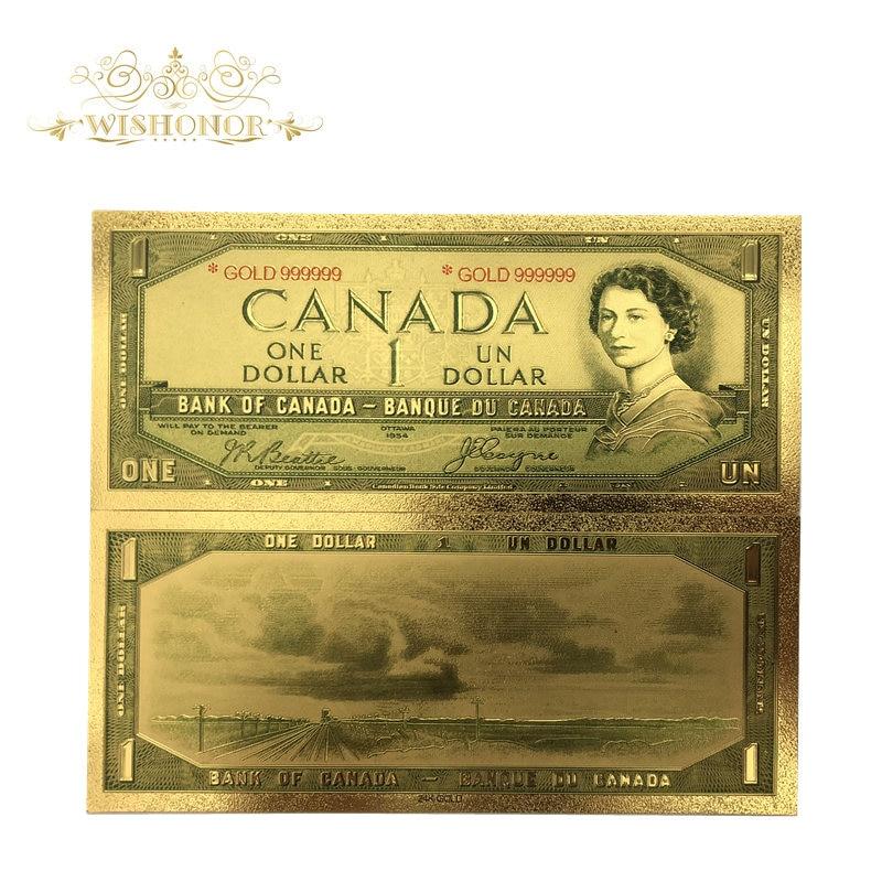 Сувенирные подарки для 10 шт./лот, для канадских банкнот, 1 долл., банкноты в 24 к золотистой фольге, бумажные деньги для подарков