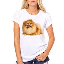 Милая коричневая Померанская футболка женская модная дизайнерская футболка с рисунком собаки женские белые футболки летние топы дропшиппинг