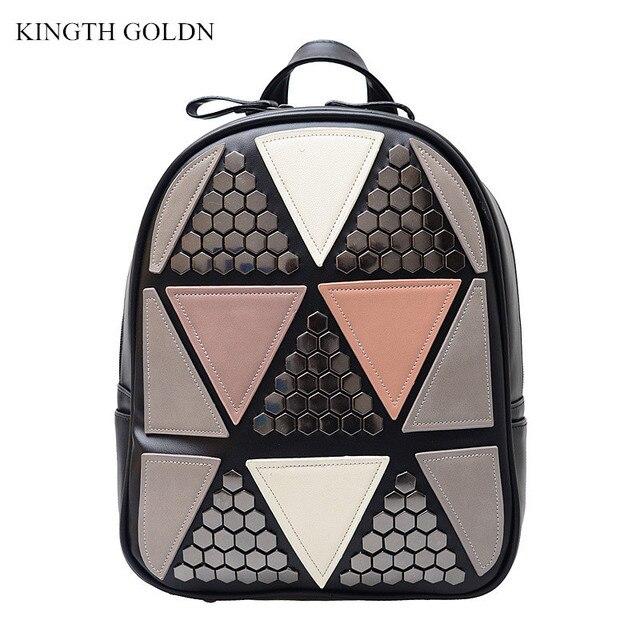 KINGTH GOLDN Alta Qualidade Pu de Couro Sacos de Escola Mochilas Adolescentes Meninas Mulheres Mochila Geométrica Patchwork Feminino Mochil