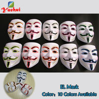 10 штук Высокое качество Оптовая Продажа EL Провода светящаяся маска Rave пользовательские маски 10 Цвета + DC V звуковой активации партия реквизи