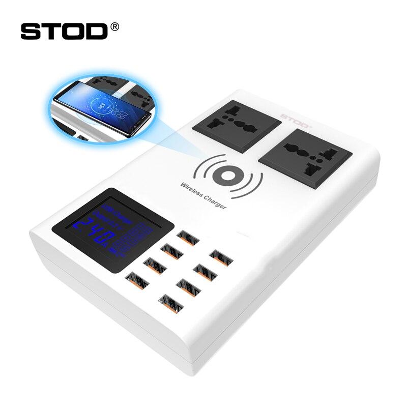 STOD Smart chargeur usb led Affichage Qi Sans Fil De Charge bande de puissance 2 prise de courant alternatif 2000 W Pour iPhone iPad Samsung Huawei LG Adaptateur