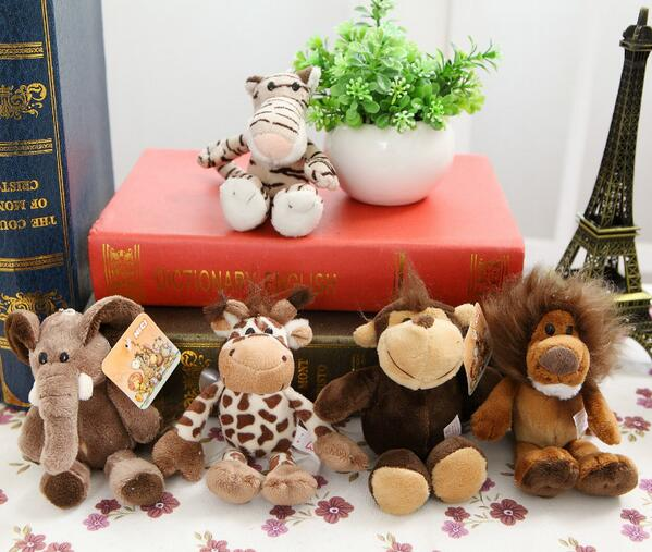 5pcs/lot 15cm Cute Stuffed Doll Jungle Brother Tiger Elephant Monkey Lion Giraffe Plush Animal Toy Best Gifts For Kids