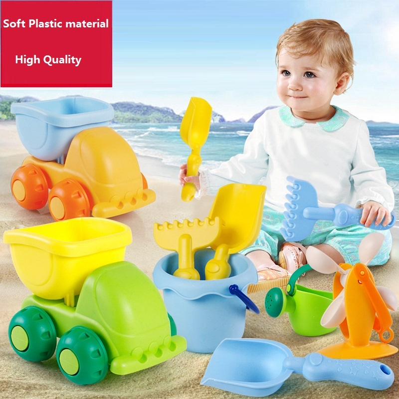 Beach Toys For Kids Summer Children Sand Water Beach Play Toys TPE Beach Castle Bucket Spade Shovel Rake Water Tool