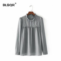 BLSQR Women Fashion Ruffled Pearls Beading Shirts Long Sleeve Blouse Autumn Ladies Casual Brand Tops Blusas