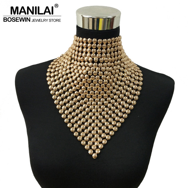 MAINILA New Fashion Gold Colors Metal Statement Long Torques Collar Chokers Necklaces Tassels Necklaces Pendants Women Jewelry