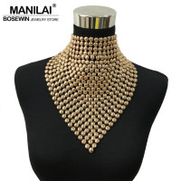 MAINILA New Fashion Gold Colors Metal Statement Long Torques Collar Chokers Necklaces Tassels Necklaces Pendants Women