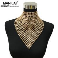 MAINILA New Fashion Gold Colors Metal Statement Long Torques Collar Chokers Necklaces Tassels Necklaces Pendants Women