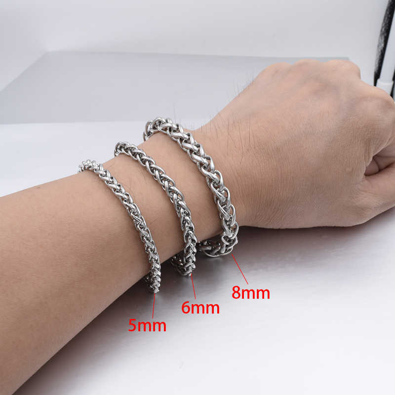 Mannen Armband & Bangle 2019 Kerstcadeau Roestvrij Stalen Armband Zilver Kleur Link Tarwe Dubbele Ketting Sieraden Dropshipping