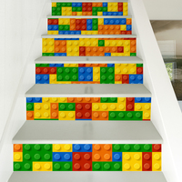 6pcs Creative Lego Stair Stick PVC Removable DIY Self adhesive Tile Wall Stick Floor Decal for Kid Room Bedroom Home Decoration