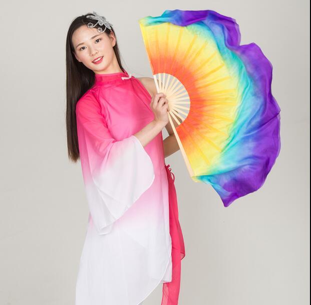 Professional 76cm Rainbow Silk Fan Veils 1 Pair Belly ...