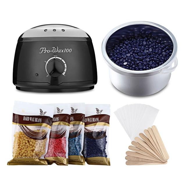 머리 제거 전기 왁 스 Warmer Machine & Hair 제거 기계 히터 와 콩 논문 어플리케이터 스틱 왁싱 Kit RWH012