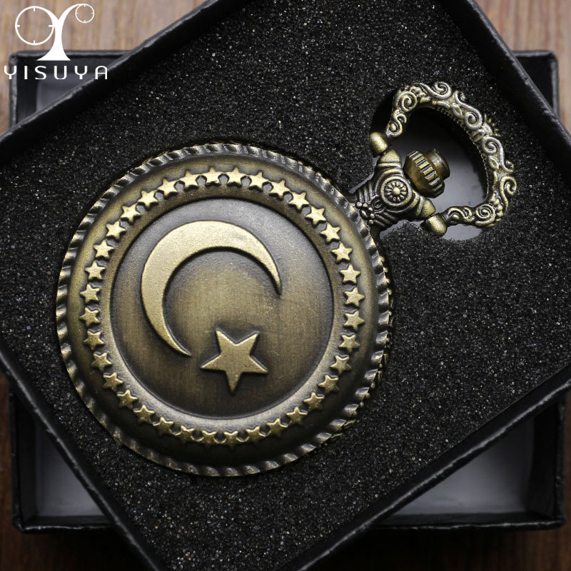 Retro Pocket Watch Turkish Flag Design Moon and Star Theme Quartz Round Fob Watch with Necklace Chain Clock+ Gift Box retro mary easter pocket fob watch with chain full hunter japan quartz movt pocket clock for men gift male relogio de bolso 2018