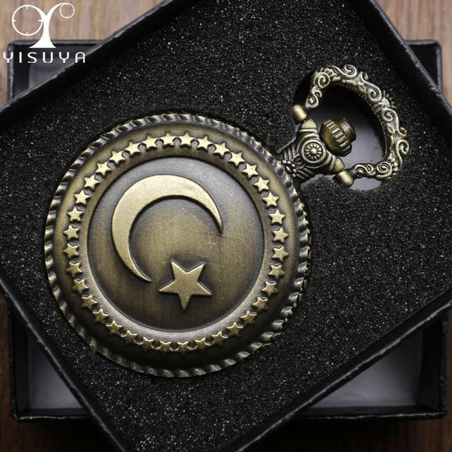 Retro Pocket Watch Turkish Flag Design Moon and Star Theme Quartz Round Fob Watc