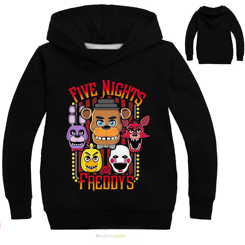 Boys Five Nights At Freddy Sweatshirt Spring Hoodies Shirt Boys Clothes Long Sleeve Hooded Sweatshirt Kid Tops Baby Girl Cloth