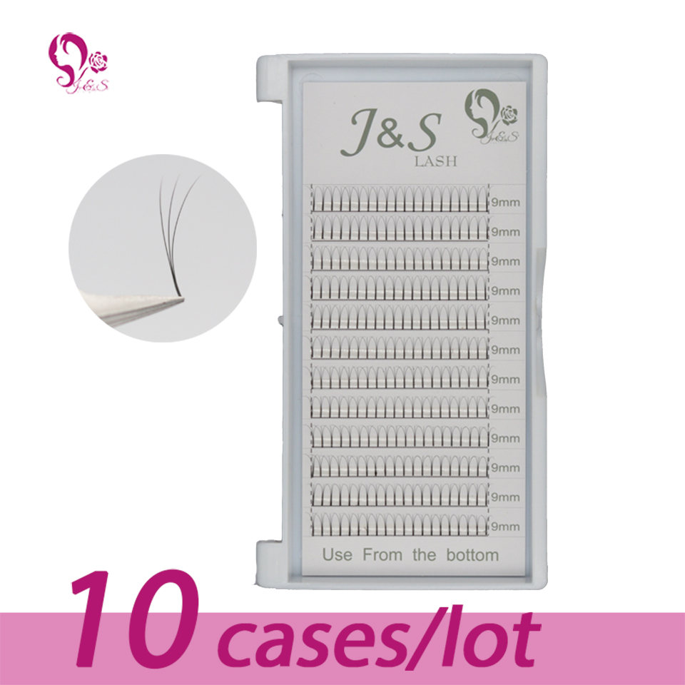 10 Trays lot J S High quality Volume Fans 3D Eyelash Extensions 100 handmade Lash Natural