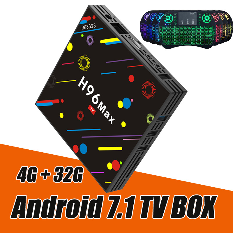 RUIJIE 4g 32g H96 Max H2 Android 7.1 TV Box RK3328 Quad Core 4 k Smart Tv VP9 HDR10 USB3.0 WiFi Bluetooth 4.0 Lettore Multimediale