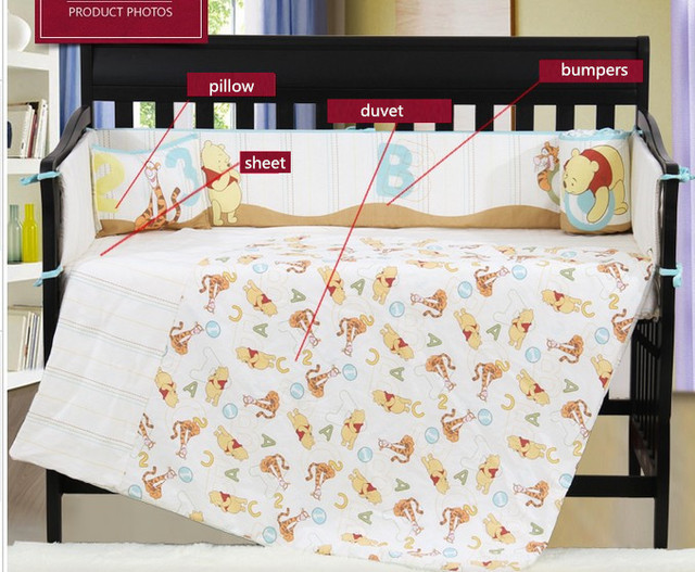 7PCS embroidery cotton baby crib bedding crib sets bumper for cot bed crib bed sheet,include(bumper+duvet+sheet+pillow)