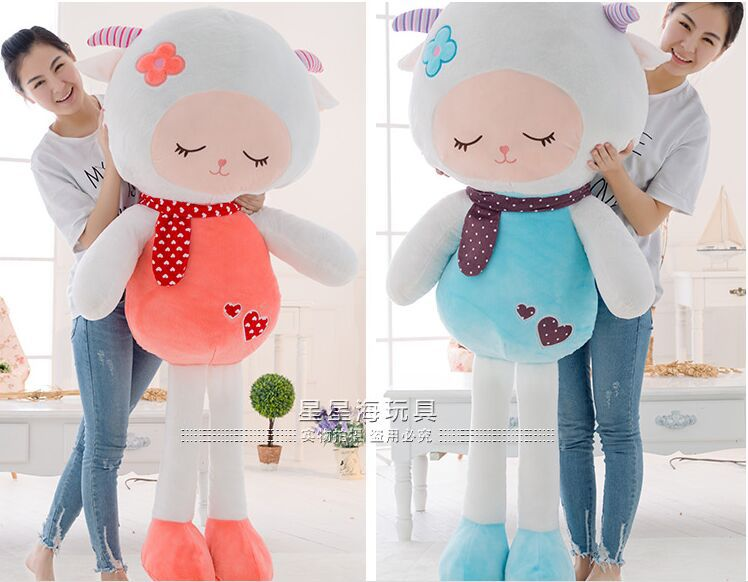 huge 150cm beautiful sheep plush toy cartoon goat doll,throw pillow birthday , proposal gift w2983 fillings plush toy huge 180cm green crocodile doll soft throw pillow birthday gift h0709