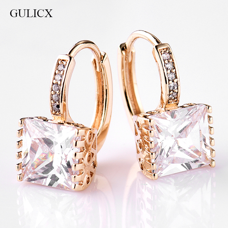 GULICX 2017 Fashion Princess Gold color Hoop Earring for Women White Black CZ Crystal Zirconia Earing Jewelry E302