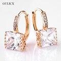 Gulicx 2016 princesa de la manera de oro platino plateó el pendiente del aro para las mujeres blanco/negro cristal de la cz zirconia joyería earing e302