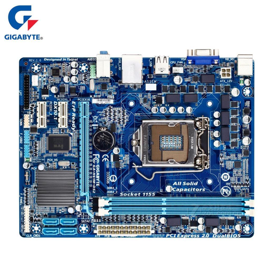 Gigabyte GA-H61M-DS2 100% original placa-mãe lga 1155 ddr3 16g h61 H61M-DS2 desktop mainboard sata ii systemboard usado
