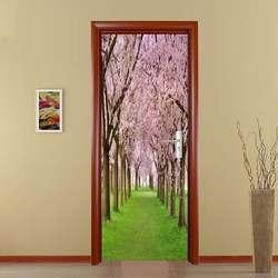 Мода 3D вишневые цветы дверь стикер DIY Фреска самоклеющиеся обои съемный водонепроницаемый плакат стикер s наклейки для домашнего декора