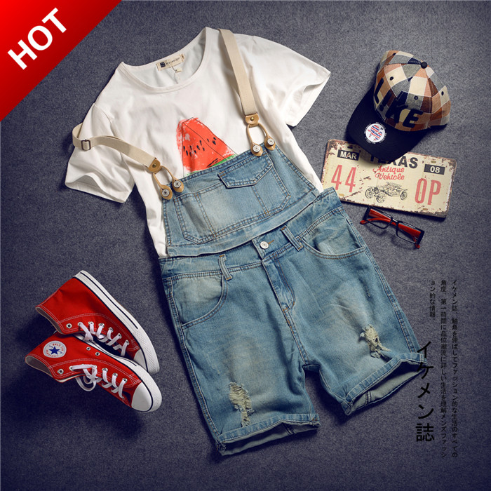 Japanese summer Metrosexual to male Bib Slim small fresh removable sling font b short b font