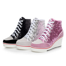 Height Increasing Wedges Lace Up Flats Casual Ankle High Top Sliver Canvas Shoes Glitter Sequins High Top Women Shoes Plue Size(China)