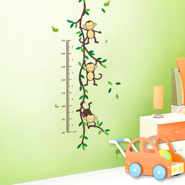 Monkeys Playing On Trees Height Measure Wall Stickers For Kids Rooms
