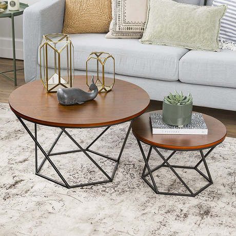 Tremendous Us 650 99 7 Off Coffee Tables Living Room Furniture Home Furniture Solid Wood Iron Round Sofa Tea Side Table Basse Modern 70 70 45Cm 45 45 40Cm In Pabps2019 Chair Design Images Pabps2019Com