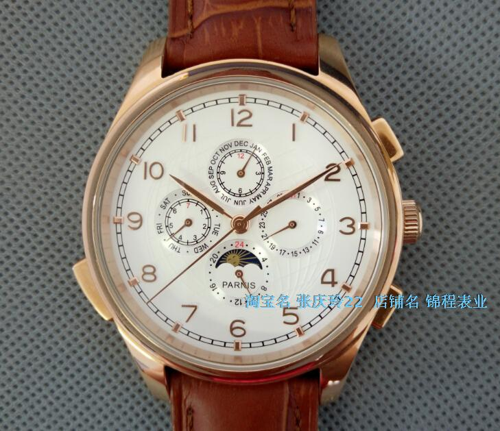 44MM PARNIS Automatic Self-Wind movement white dial multi-funtion men's watch Mechanical watches pvd Rose gold case 8