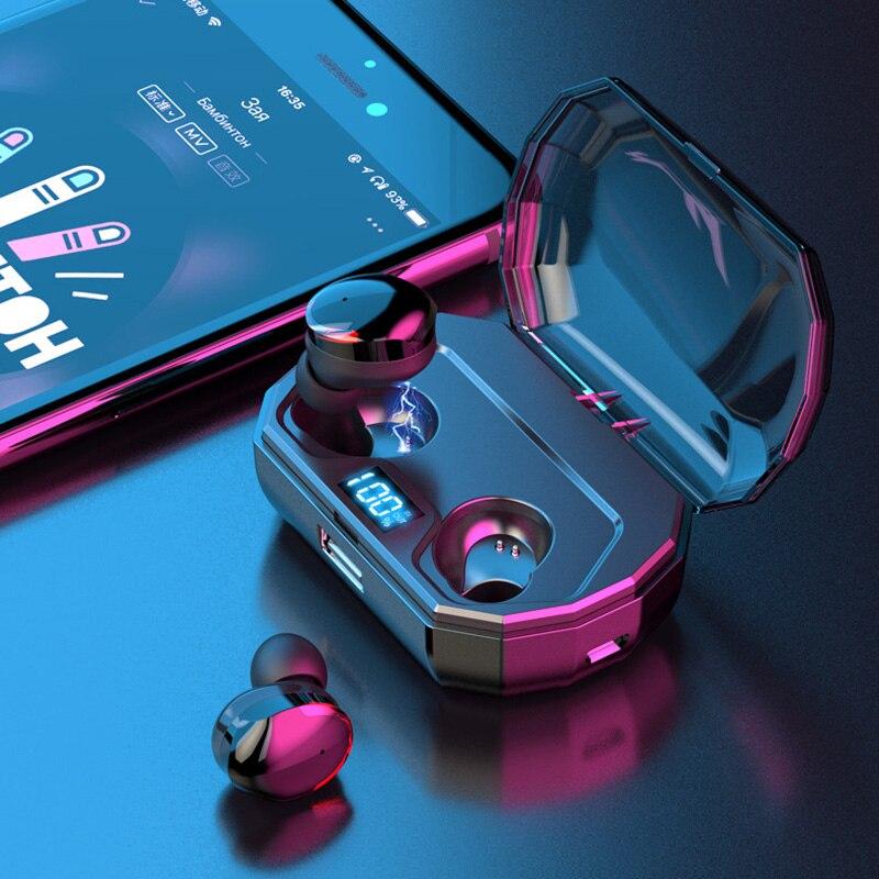 Sans fil Écouteurs, 5.0 Vrai Bluetooth Sans Fil Stéréo Basse Écouteurs Bluetooth Écouteurs Preuve de L'eau Sans Fil Casque avec Micro
