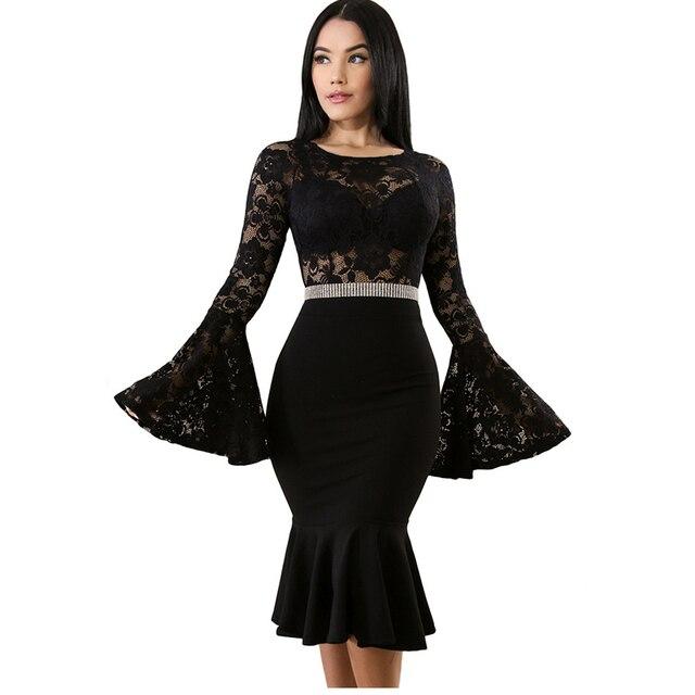 MUXU dress vestidos summer sexy black lace dress women clothing dresses  crochet sundress fashion long sleeve e6ee31f0165f