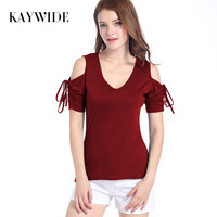 Kaywide 2017 Summer Flare Lace Up Sleeve Casual Women T Shirt Harajuku V Neck Sexy Ladies