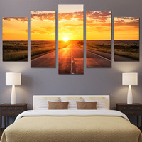 Canvas Paintings Living Room Home Decor Framework HD Prints 5 Pieces Sunrise Landscape Pictures Sunset Highway