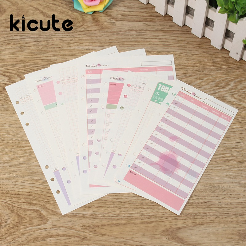 Kicute Lovely A6 A5 Colorful Diary Refills Spiral Notebook Replace Color Core Loose Leaf Stationery Planner 6 Rings Binder Paper