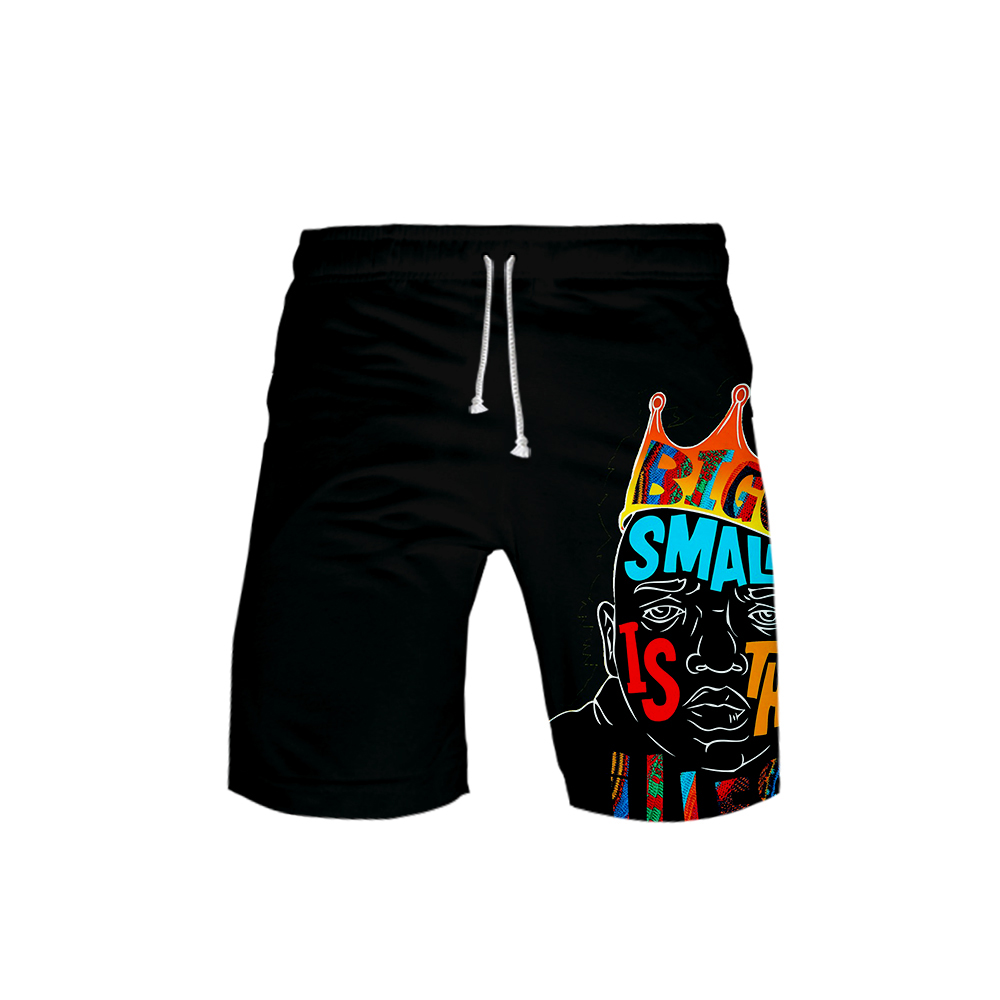 Men's 3D BIGGIE Templar 3DBoard Shorts Trunks 2019 Summer New Quick Dry B.I.G Beach Shorts Men Hip Hop Short Pants Beach Wear