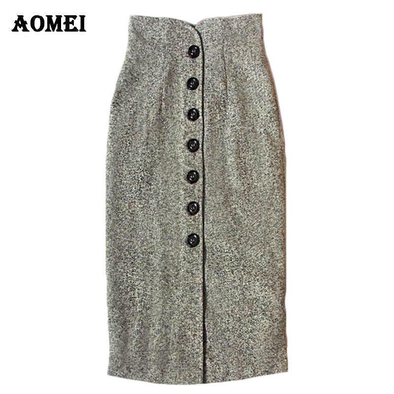 f3ffc5a438b Для женщин тонкий Винтаж Высокая талия юбка-карандаш шерстяные осень мода  зима юбка Женская Кнопка