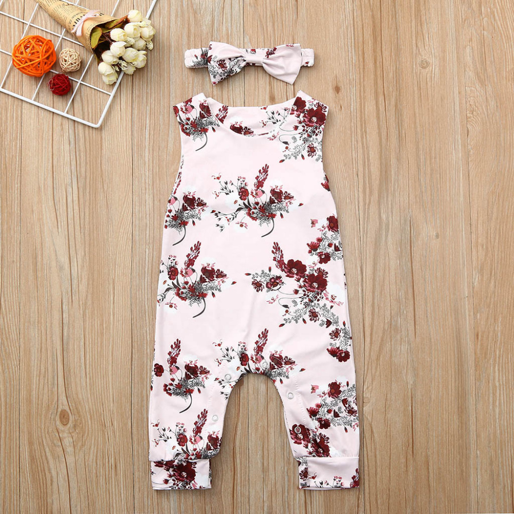 Rompers Frank Newborn Kid Baby Girls Floral Print Bow Hair Band Romper Jumpsuit Clothes Kinder Kleider Toddler Clothes Baby Clothing Onesies