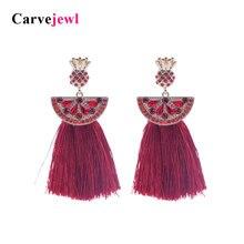Carvejewl cotton tassel earrings long pineapple rhinestone post for women jewelry Drop Dangle Earrings girl gift hot