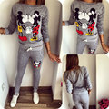 Hot Winter Women's Sweat Suit Fashion 2 Piece Set Tracksuit Costume For Women Set Sweatshirts Gray Kiss Mickey Survetement femme