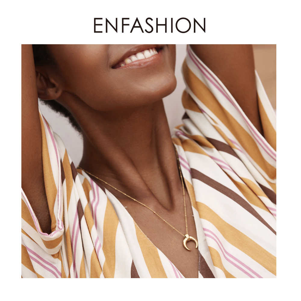 Enfashion Moon Necklace Women Gold Color Long Chain Statement Men Necklaces Stainless Steel Boho Jewelry 2019 Naszyjnik PM193003