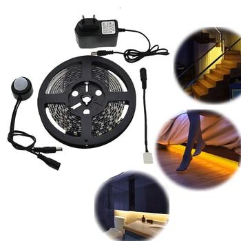 Sensor de movimiento tira de LED resistente al agua 1-5 m PIR tira de LED Whtie/blanco cálido con apagado automático luz de cama de alta calidad con temporizador