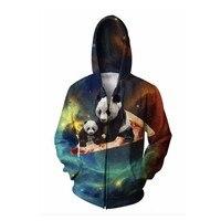 LiZhiYang Sweatshirt Hoodie Men Or Women Cool Creative 3D Print Colorful Panda Baby Fashion Autumn Winter